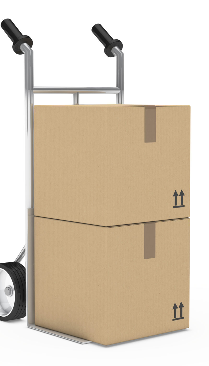 hand truck with package on withe background